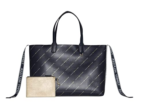 b6f913c9 TOMMY HILFIGER Iconic Tote Tommy Navy/Allover Print: Amazon.co.uk: Shoes &  Bags