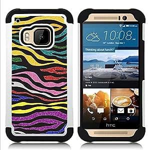For HTC ONE M9 - Zebra Stripes Glitter Gold Purple Pattern Dual Layer caso de Shell HUELGA Impacto pata de cabra con im????genes gr????ficas Steam - Funny Shop -