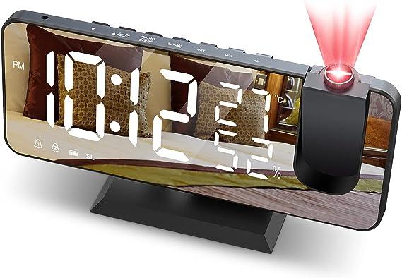 JIGA Despertador Digital Radio FM Despertador Proyector 180&