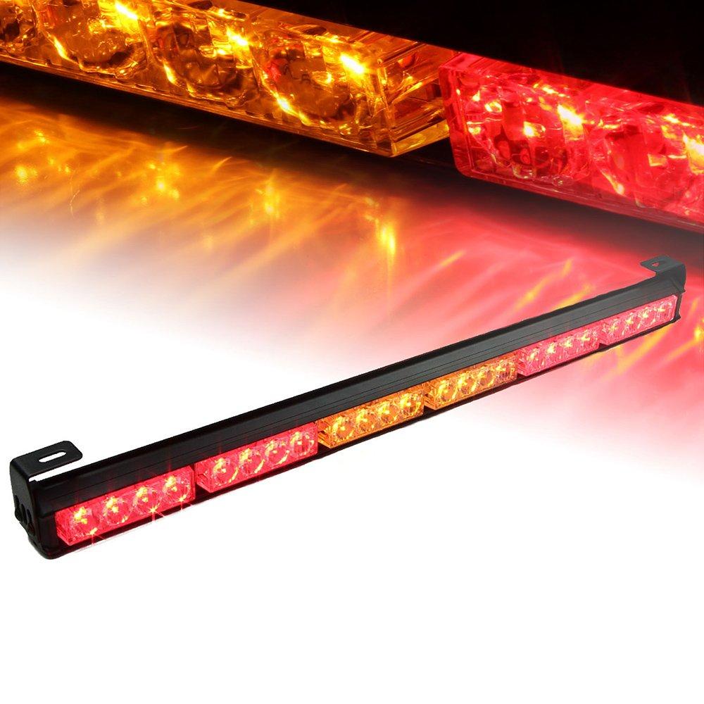 Xprite 27 24 LED Red 7 Modes Traffic Advisor Emergency Warning Vehicle Strobe Light Bar Kit