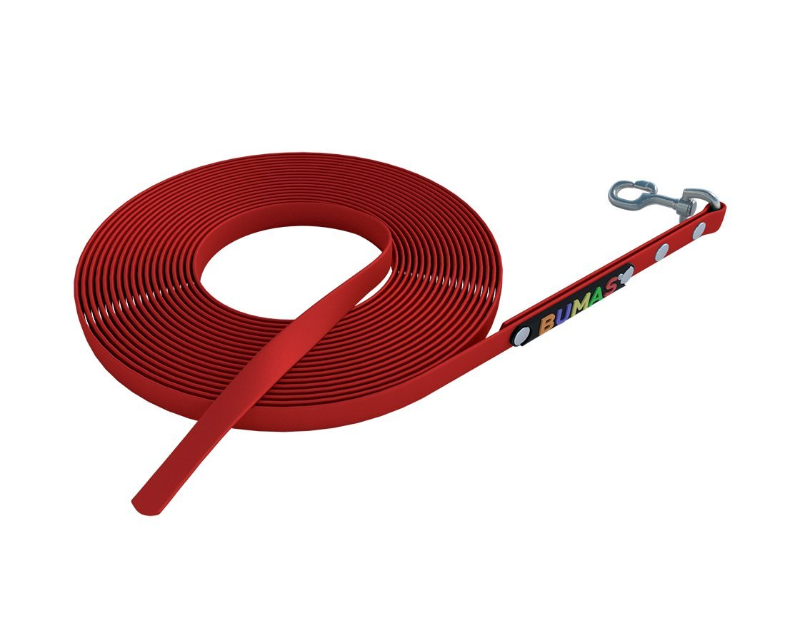 9 mm   10 m BUMAS sport BioThane® towing leashes in red, 10m   9mm