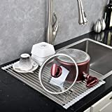 Ufaucet Best Metal Stainless Steel Bottle Dish Countertop Folding Roll Up Commercial Over The Sink Draining Drying Rack,12.8