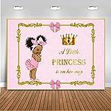 Mehofoto Royal Baby Shower Backdrop Little Princess Pink Bow Photography Background 7x5ft Vinyl Royal Pink Girl's Baby Shower Party Banner Backdrops