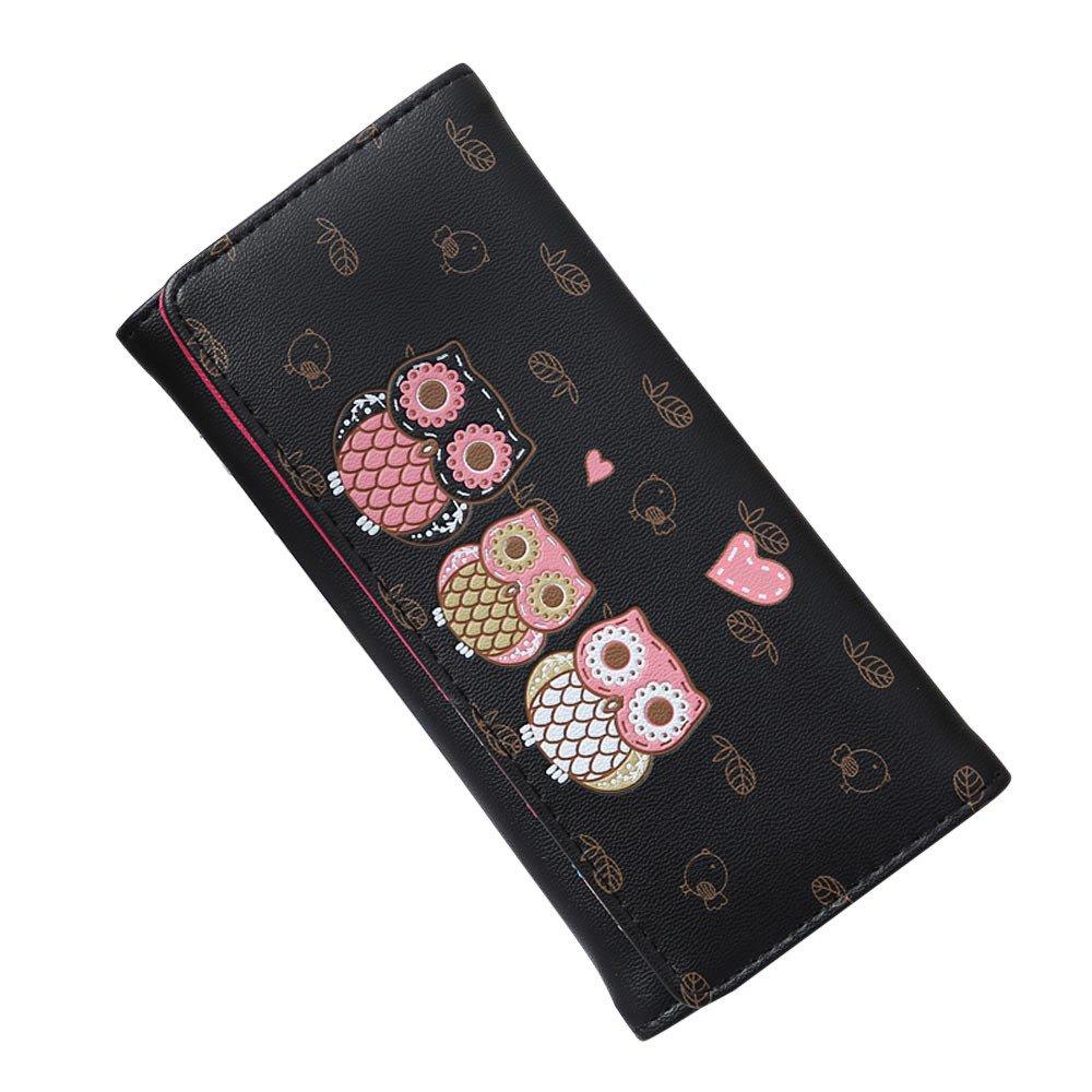 ABASSKY Women Simple Retro Owl Printing Long Wallet Coin Purse Card Holders Handbag (Black)