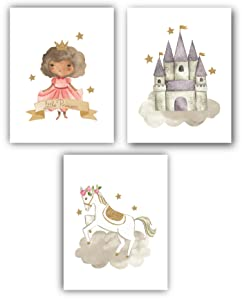 Set of 3 (UNFRAMED) Little Black Princess Nursery Decor Art for Girls Room 8x10 (Option 1)