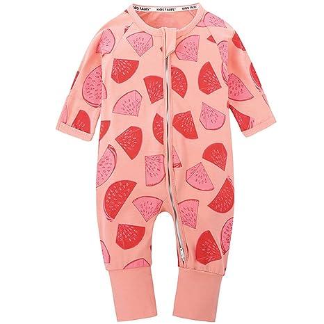 Bebé Niñas Pijamas Peleles Algodón Mamelucos Monos Mangas Largas Trajes con Cremallera 3-6 Meses