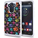 FINCIBO Droid Turbo XT1254 Case, Dual Layer Shock Proof Hybrid Hard Protector Cover Anti-Drop TPU Rhinestone For Motorola Droid Turbo XT1254 - Multicolor Paws Dog