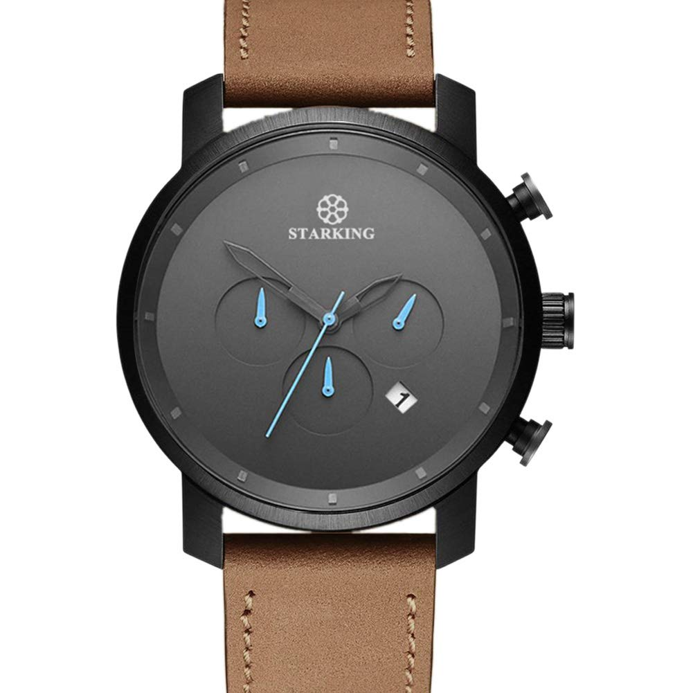 STARKING Top Brand Luxury Mans Wrist Watch TM0913 Leather Watch Men Casual Style Fashion Minimal Waterproof Watches Scratch Proof Male