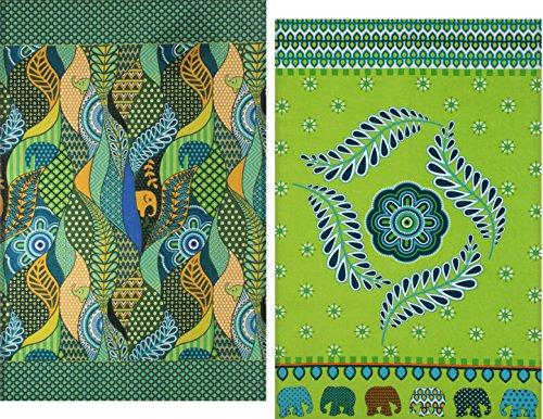 Green Decorative Kitchen Towels Set, 2 Elephant Printed Oversized Colorful Tea Towels