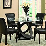 Dark Wood Dining Table Monarch Tempered Glass Dining Table, 48-Inch Diameter, Dark Espresso