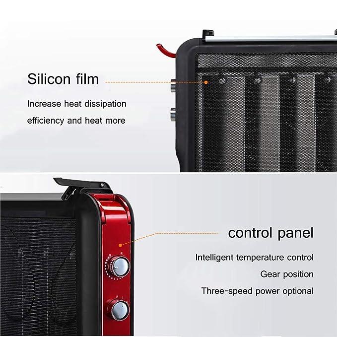 El panel de mica del calentador eléctrico, 6 disipadores de calor, 4 fuentes de alimentación ajustables, con termostato y protección contra el calor ...