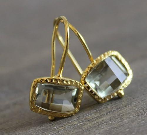 Kissenschliff Amethyst vergoldet Ohrhaken Ohrringe