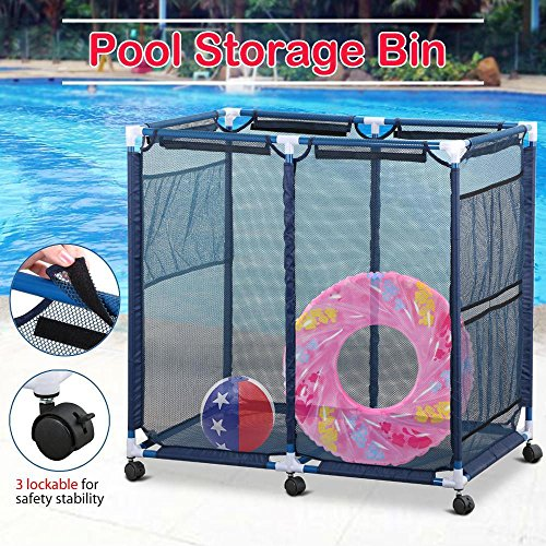 go2buy Quality Pool Storage Bin Rolling Mesh Cart with 6 Casters,35.8 x 24 x 35.8'' (LxWxH)),Blue