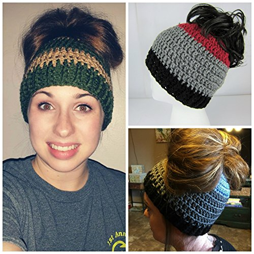 Handmade Girls Messy Bun Hat, Pick your colors, Cheerleader Hat, Runners Hat, Crochet Pony Tail Hat, Womens, teen, Juniors, Adult, Women