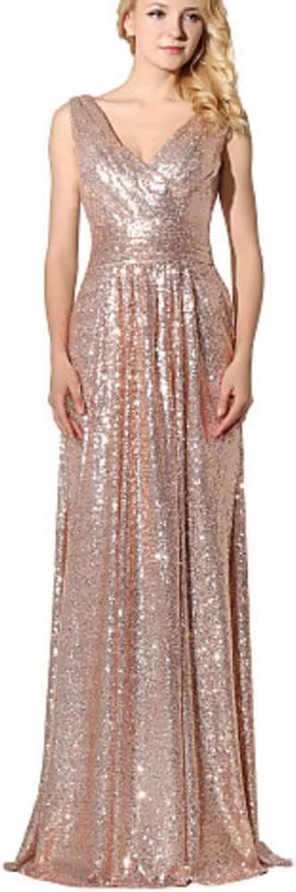 Rudina Customized V-Neck Sequins Rose Gold Prom Dress