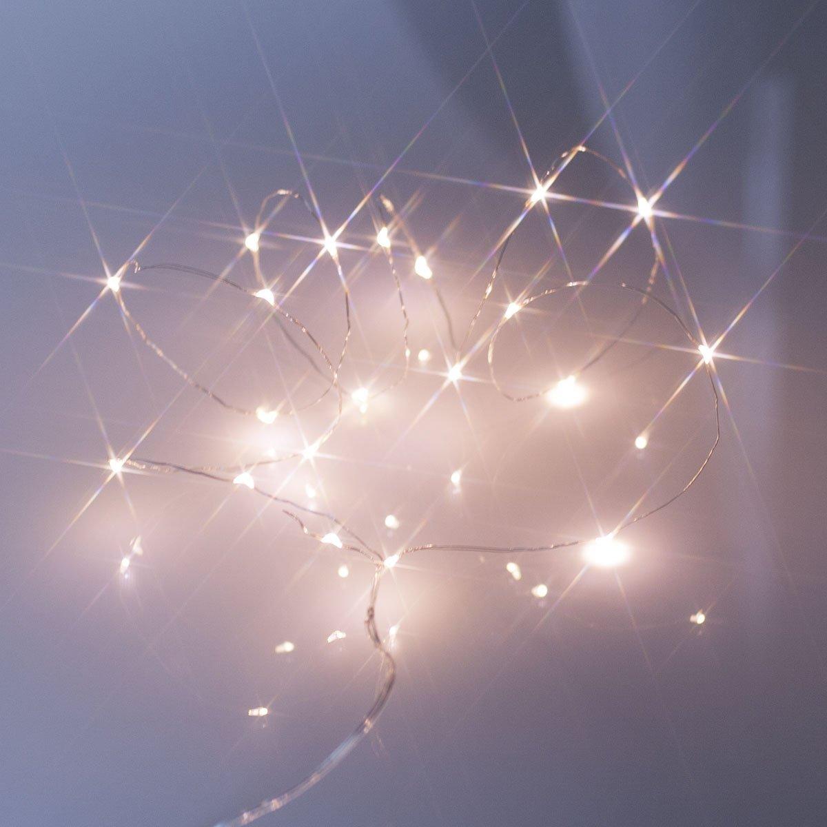 20er LED Micro Lichterkette warmweiß Batteriebetrieb Timer: Amazon ...
