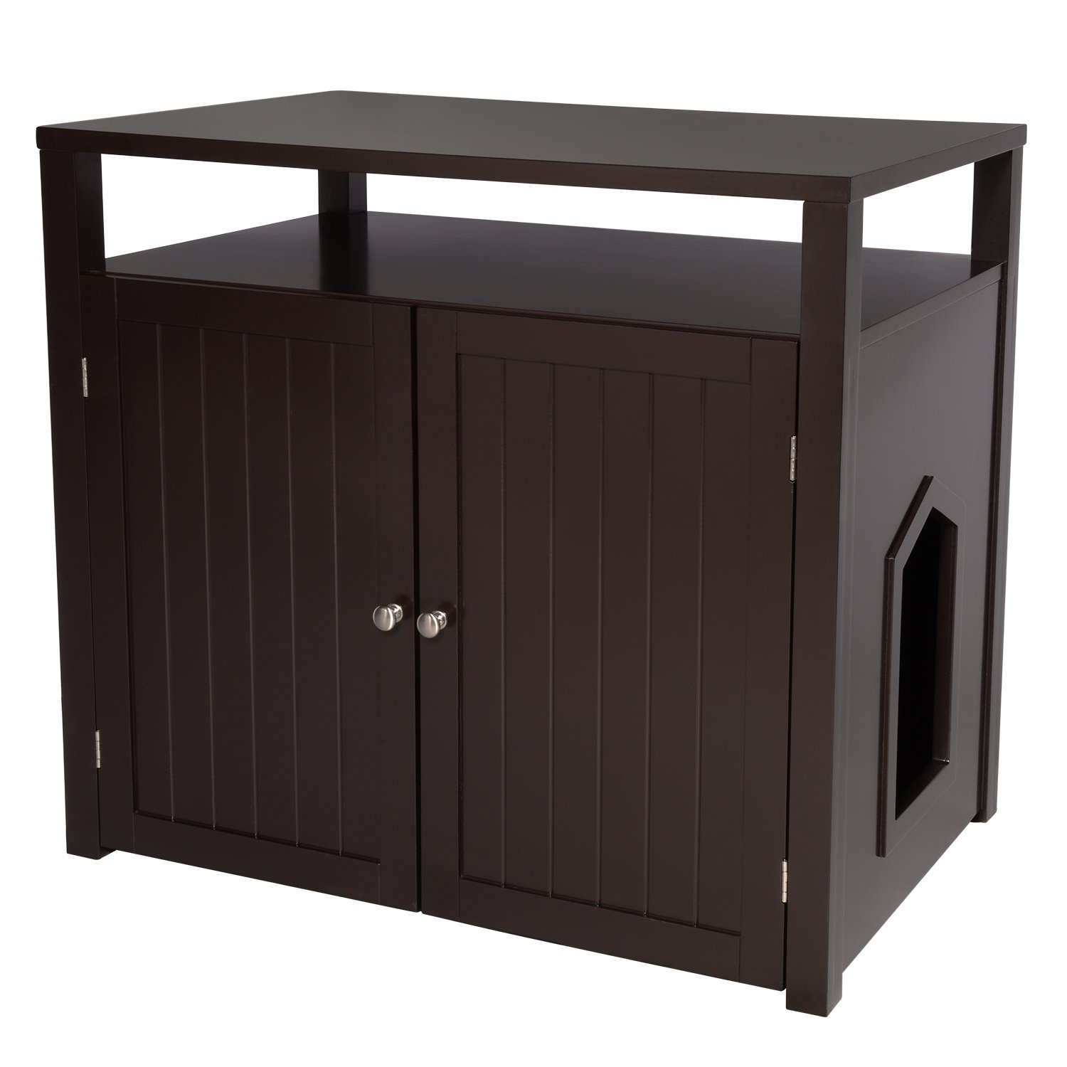 Arf Pets Cat Litter Box Enclosure, Furniture Large Box House with Table by Arf Pets