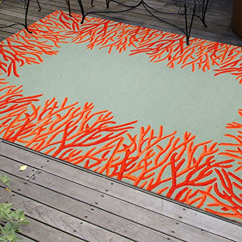 Liora Manne Spello Coral Border Rug, 24-Inch by 8-Feet, Orange - Patio Border Rug