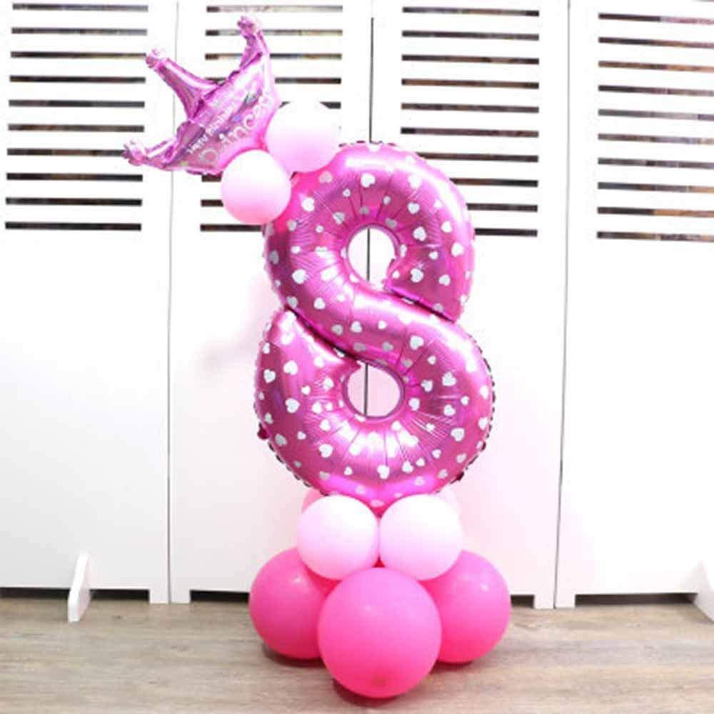 Globos de papel de aluminio con corona para fiesta de cumpleaños. Números 0 al 9 8 rosa