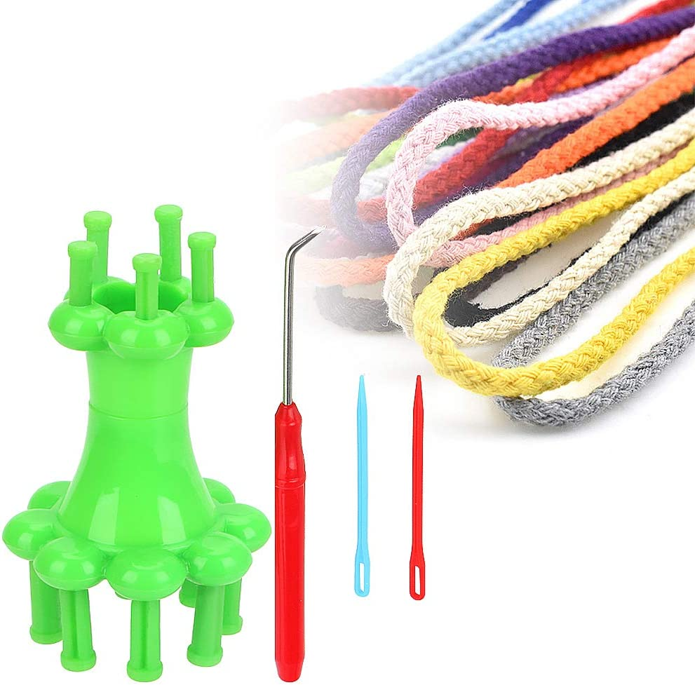 Rope Braiding Knitting Spool Loom Knitter Maker Scarves Straps Diy Maker Loom Knitting Knitter Machine Accessory Knit Loom Brazilian Wool Spool Knitter Twine C Plastic Card Punch