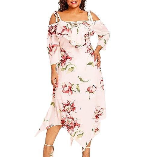 6198fe7195b Amazon.com  FAPIZI Women Summer Casual Plus Size Rose Print Sling Chiffon O- Neck Ruffles Hem Bodycon Long Dress  Clothing