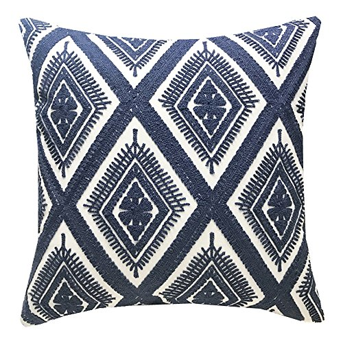Blue Pillow Cover - SLOW COW Cotton Embroidery Cushion Cover Decorative Throw Pillow Cover Geometric Invisible Zipper Pillow Cover for Living Room, 18x18 Inch, Navy Blue