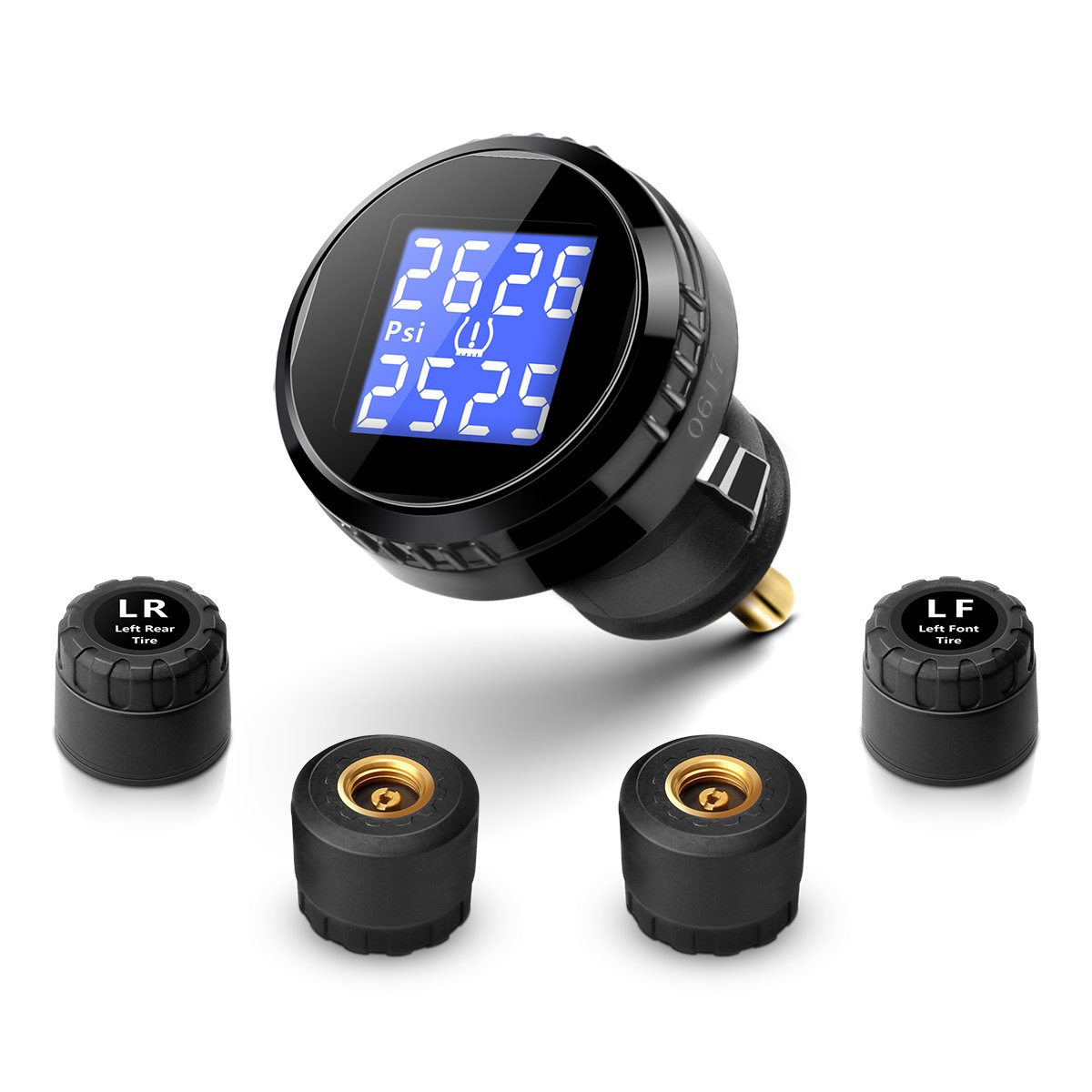 YOKARO Wireless TPMS Tire Pressure Monitoring System with Pressure and Temperature Display for Cars, Trailer, and 4 wheeled Vehicles, 4 External Cap Sensors