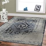 Premium Heavy-Duty Thick Traditional Rugs Oriental Rug Distressed Vintage Area Rug For Living Rooms Clearance (Medium 5'x8′, Grayish Blue) Review