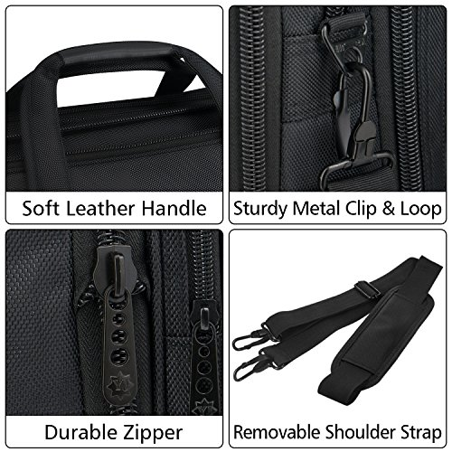 Taygeer 17.3 Inch Laptop Bag, Expandable Multi-functional Business Briefcase, Water Resitant Single-shoulder Computer Messenger Bag,Carry On Handle Travel Case for Asus Acer Dell HP Black