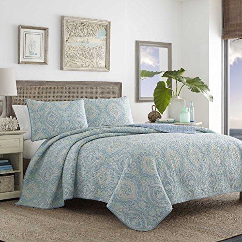 Tommy Bahama Turtle Cove Aqua Quilt Set, Full/Queen, (Aqua Quilts)