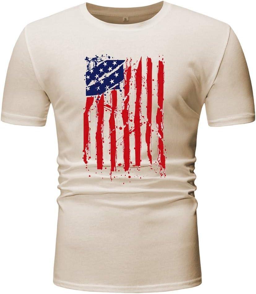 Camiseta de manga corta para hombre, diseño de la bandera estadounidense: Amazon.es: Grandes electrodomésticos