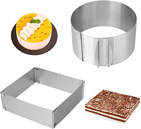 Maygone Stainless Steel Adjustable 6 to 12 Inch Cake Ring Cake Mousse Molds Baking Cake Mould Extendable Non-Stick Bakeware Tool