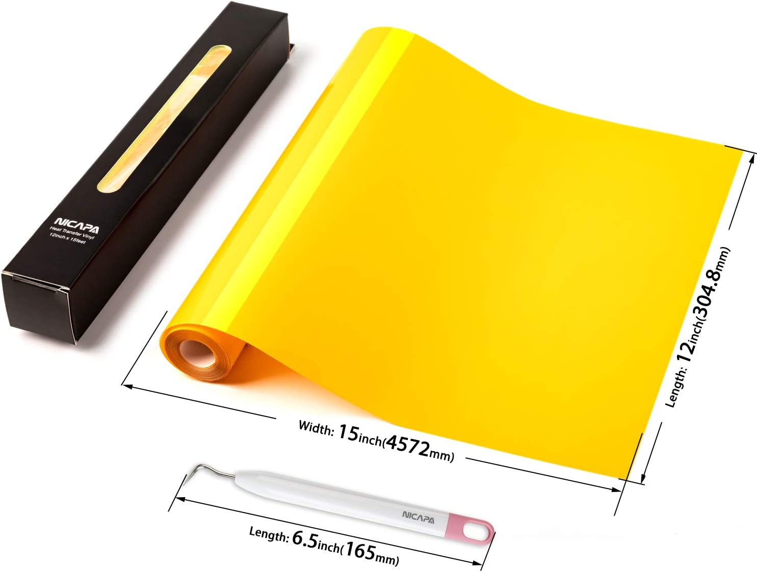 Nicapa HTV Vinyl Yellow Roll 12inch x 15feet Iron on Heat Transfer Vinyl Roll Bundle for Silhouette//Cricut//Brother//Easy to Weed Iron-on Heat Press T Shirts Garments Stencil Vinyl