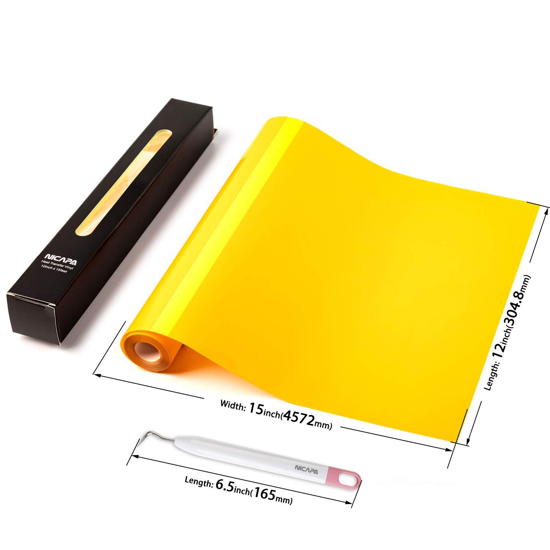 Nicapa HTV Vinyl Gold Roll 12inch x 15feet Iron on Heat Transfer Vinyl Roll Bundle for Silhouette//Cricut//Brother//Iron-on Heat Press T Shirts Garments Stencil Vinyl