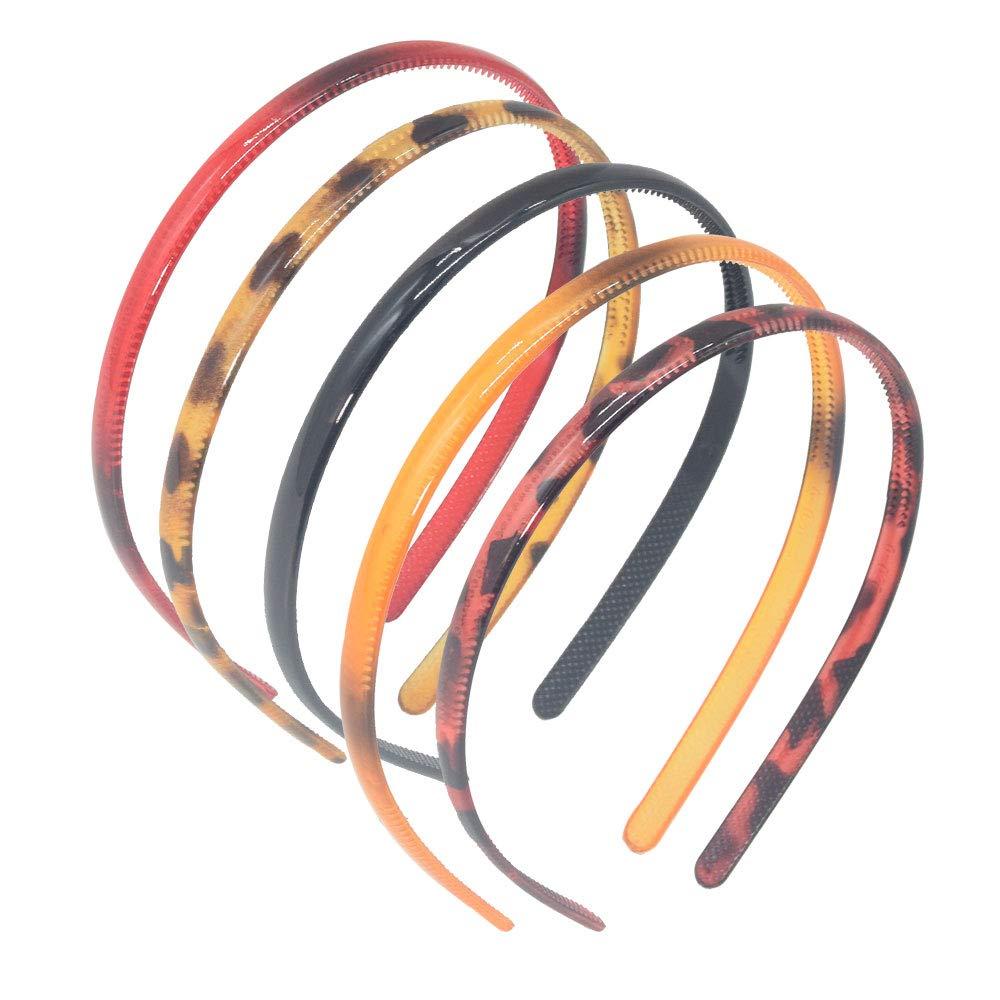 Set of 5 Plastic Headbands Leopard Print Headband Hair Band for Women Men Headwear Hair Hoop Black and Brown Leopard Print,Red
