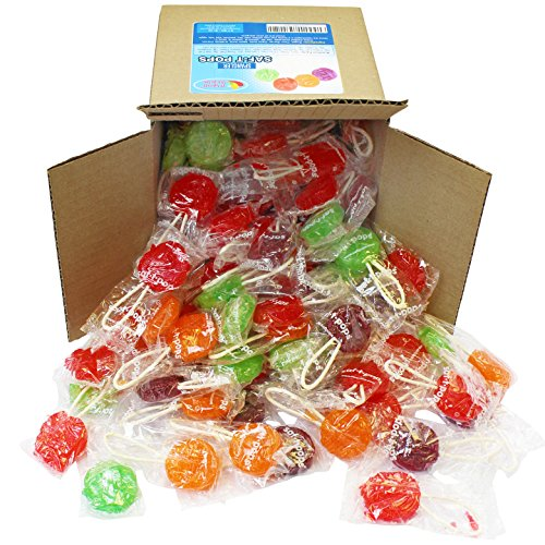 Saf-T-Pops Assorted Flavors, Lollipops with Safety Sticks by Spangler in 6x6x6 Box Bulk -