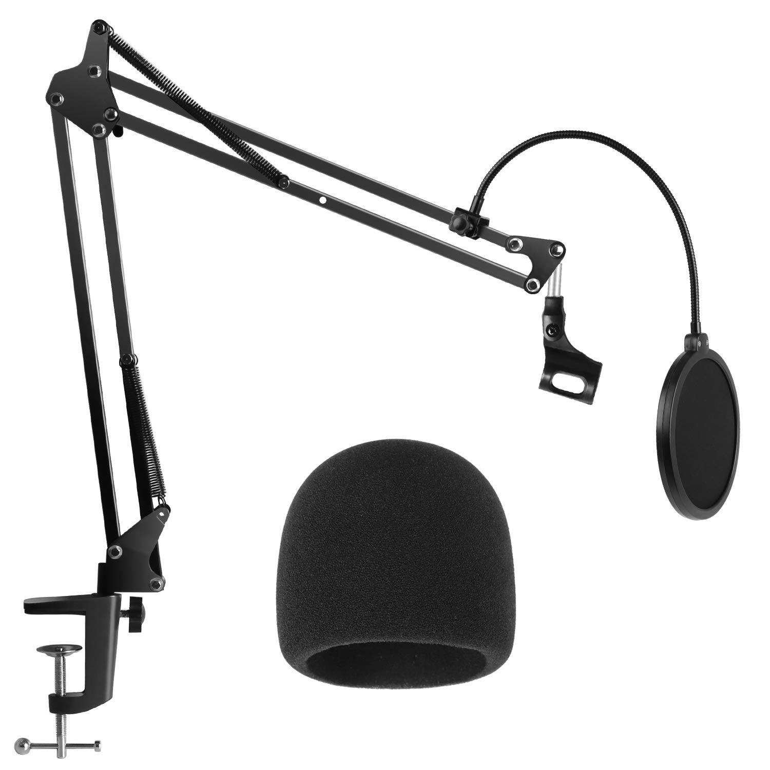 InnoGear Heavy Duty Microphone Stand with Mic Microphone Windscreen and Dual Layered Mic Pop Filter Suspension Boom Scissor Arm Stands for Blue Yeti,Blue Yeti Nano,Snowball, Blue Spark & Other Mic