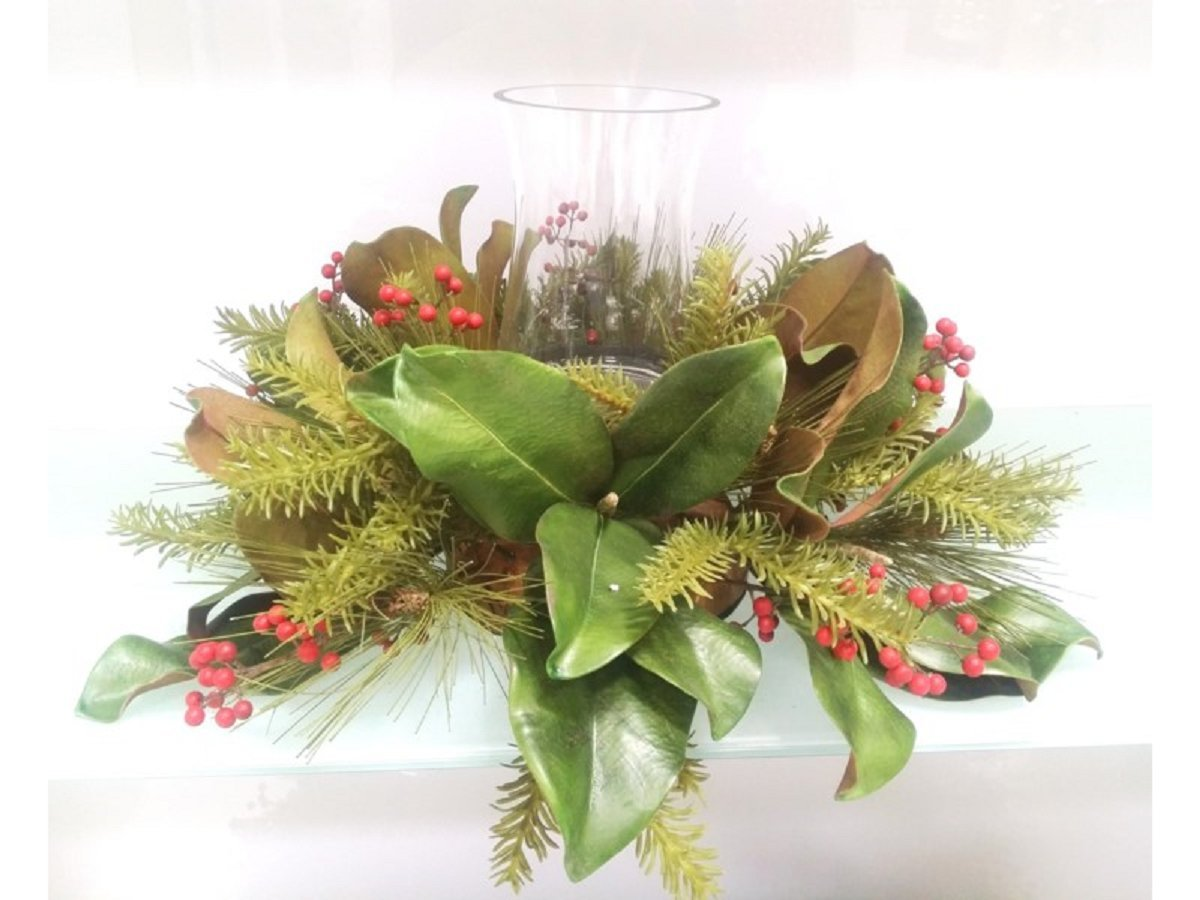 18'' Magnolia Leaves, Red Berry and Pine Christmas Centerpiece