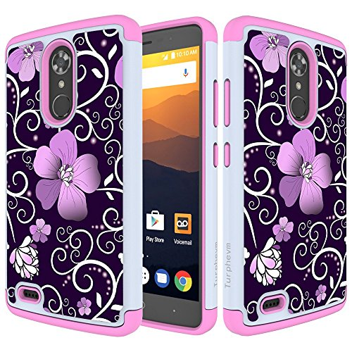 N9560 Case, Turphevm [Shock Absorption] Dual Layer Anti-Slip Armor Silicone Rubber Heavy Duty Hybrid Protective Cover Case for ZTE Max XL/ZTE N9560(Pink Violet) ()