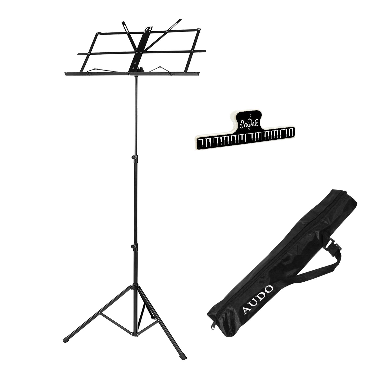Music Stand Audo Folding Music Stand With Music Book Clip And Carry Bag Black (1Pack)