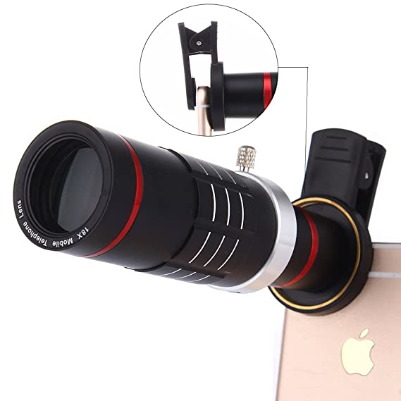 2c4bb724a5fbc9 Camera Lens Kit,WMTGUBU 18X Zoom HD Clip On Optical Telescope Telephoto Lens +15X