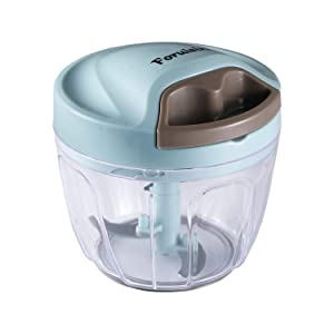 Foruisin Manual Food Chopper, Easy & Powerful Hand Held Vegetable Chopper/Blender to Chop Fruits/Nuts/Herbs/Onions/Garlics for Salsa/Pesto/Coleslaw/Puree
