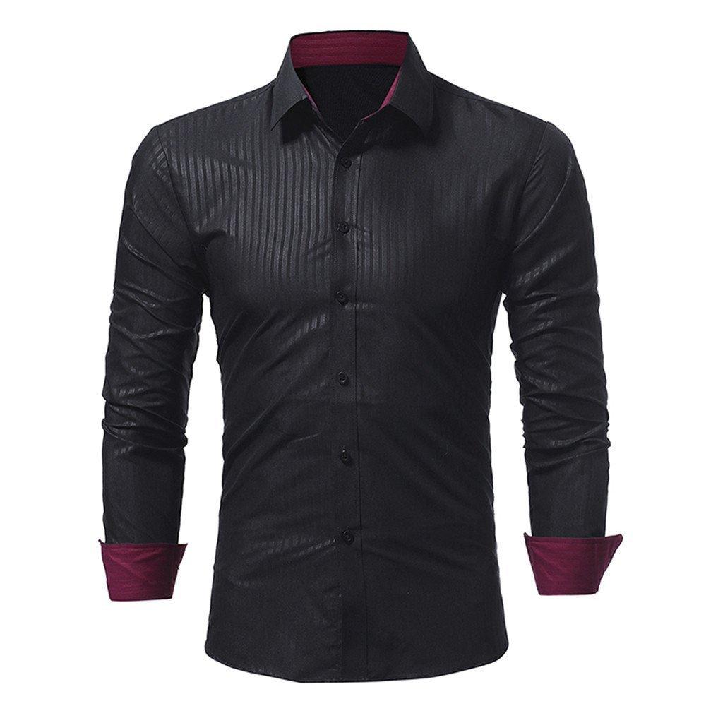 Men's Shirt-Big Promotion!! Farjing Men Shirt Fashion Solid Color Stripe Male Casual Long Sleeve Shirt (M,Black)