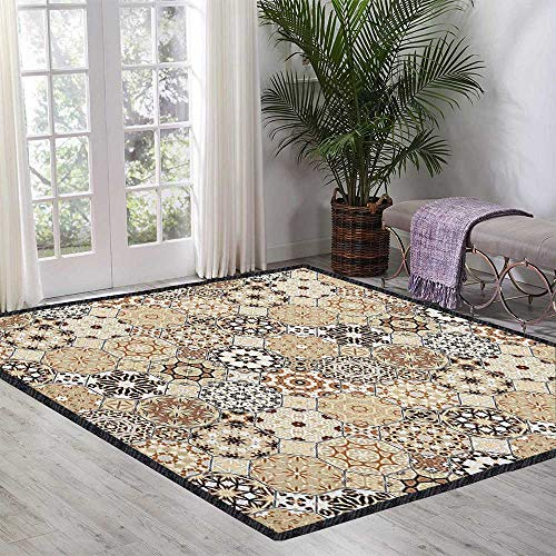 Eastern Contemporary Synthetic Rug,Octagonal and Square Ornaments Retro Colored Old Fashioned Tile Protect Floors Beige Dark Brown Pale Brown 55