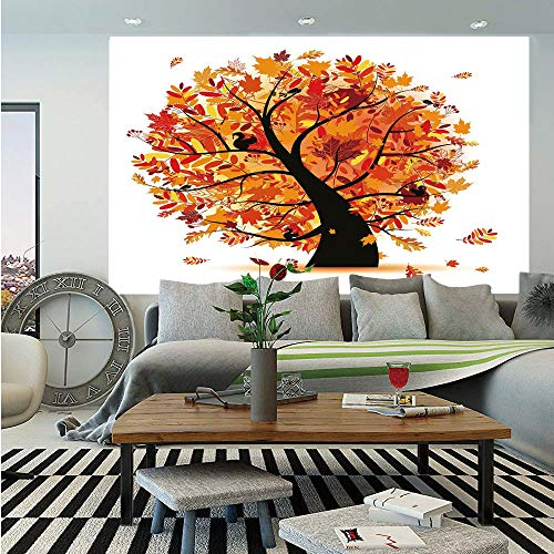 SoSung Fall Wall Mural,Curvy Tree with Various Different Falling Leaves Cartoon Style Illustration Decorative,Self-Adhesive Large Wallpaper for Home Decor 55x78 inches,Yellow Orange Black