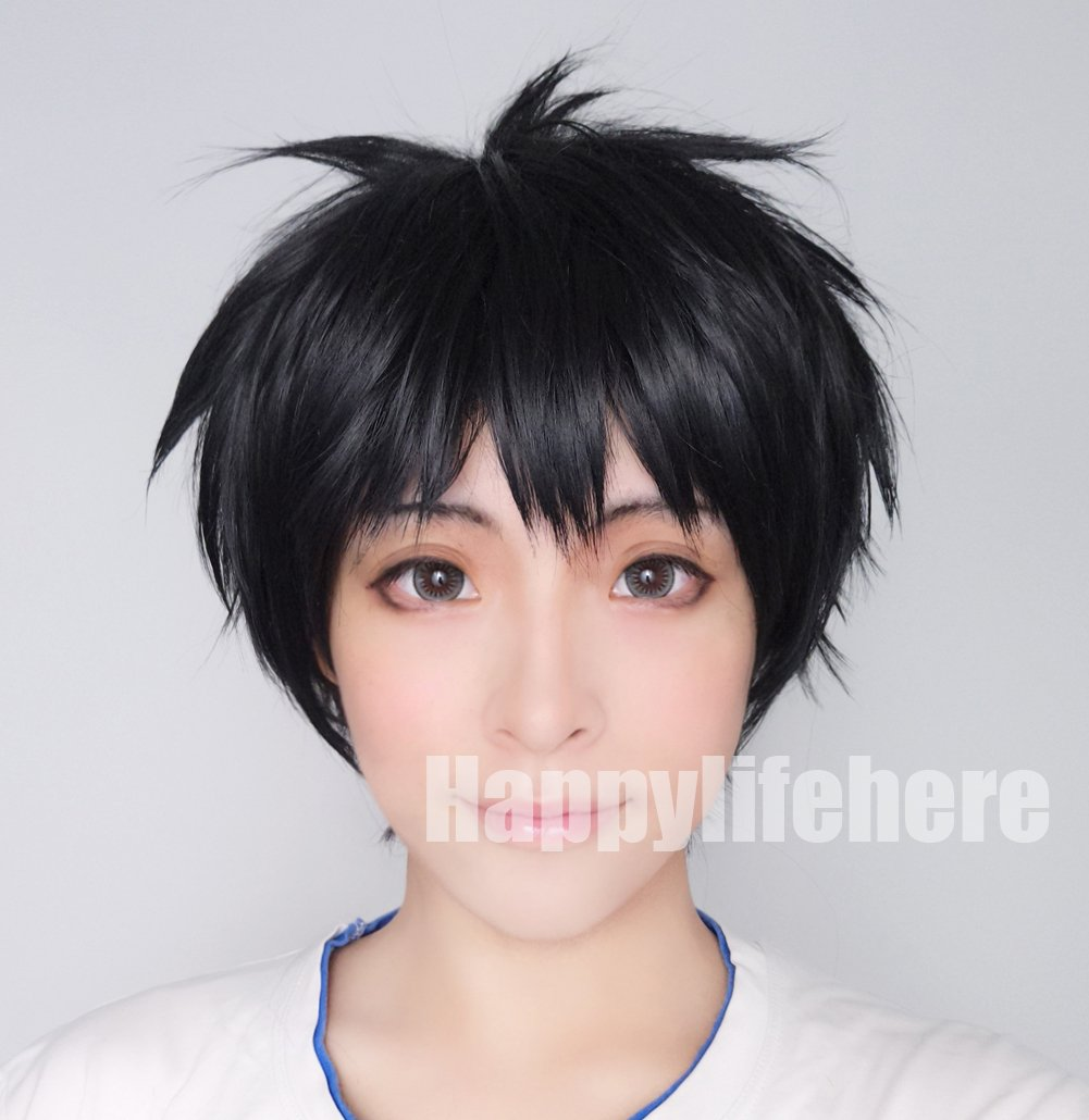Happylifehere Fashion Full Party Hair Short Black Anime Cosplay costume wig + glasses