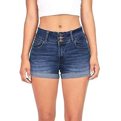 DressLksnf Pantalones Cortos de Mezclilla de Mujer Cintura Alta Vaqueros Cortos Color Sólido y Elástico Jeans Rotos Casual Slim Fit Pantalones Cortos con Regulares Pantalones Calientes: Ropa y accesorios