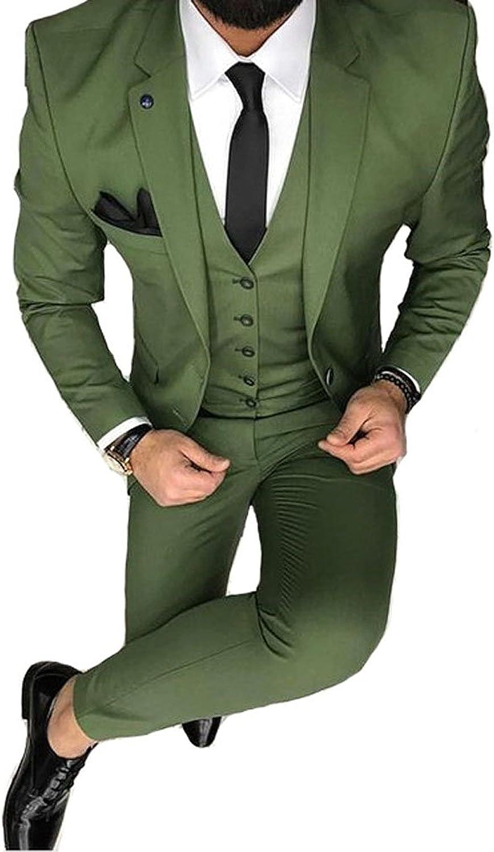 YSMO Herren Solide 3-teilig Anzug Slim Smoking Blazer Jacke Hosen Weste Set