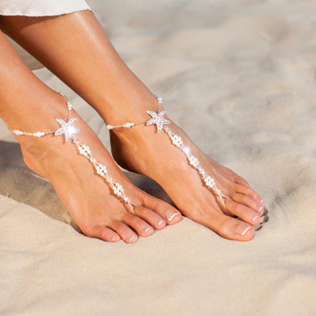 fgyhty Les Femmes Starfish Bracelets de Cheville Bracelets de Plage Fille Bijoux /élastique Pied Blanc Perle Pieds Nus Sandales cha/îne de Perles