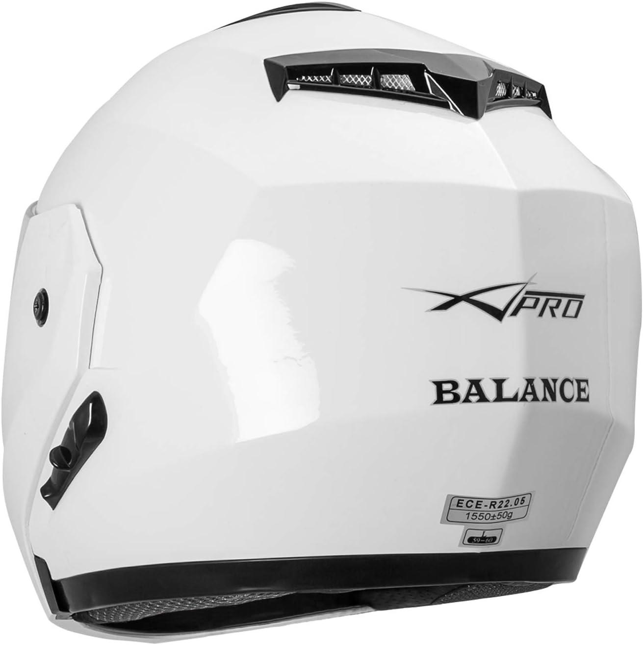 Helmet Full Face Flip Up Sun Visor Motorcycle Scooter City Silver L